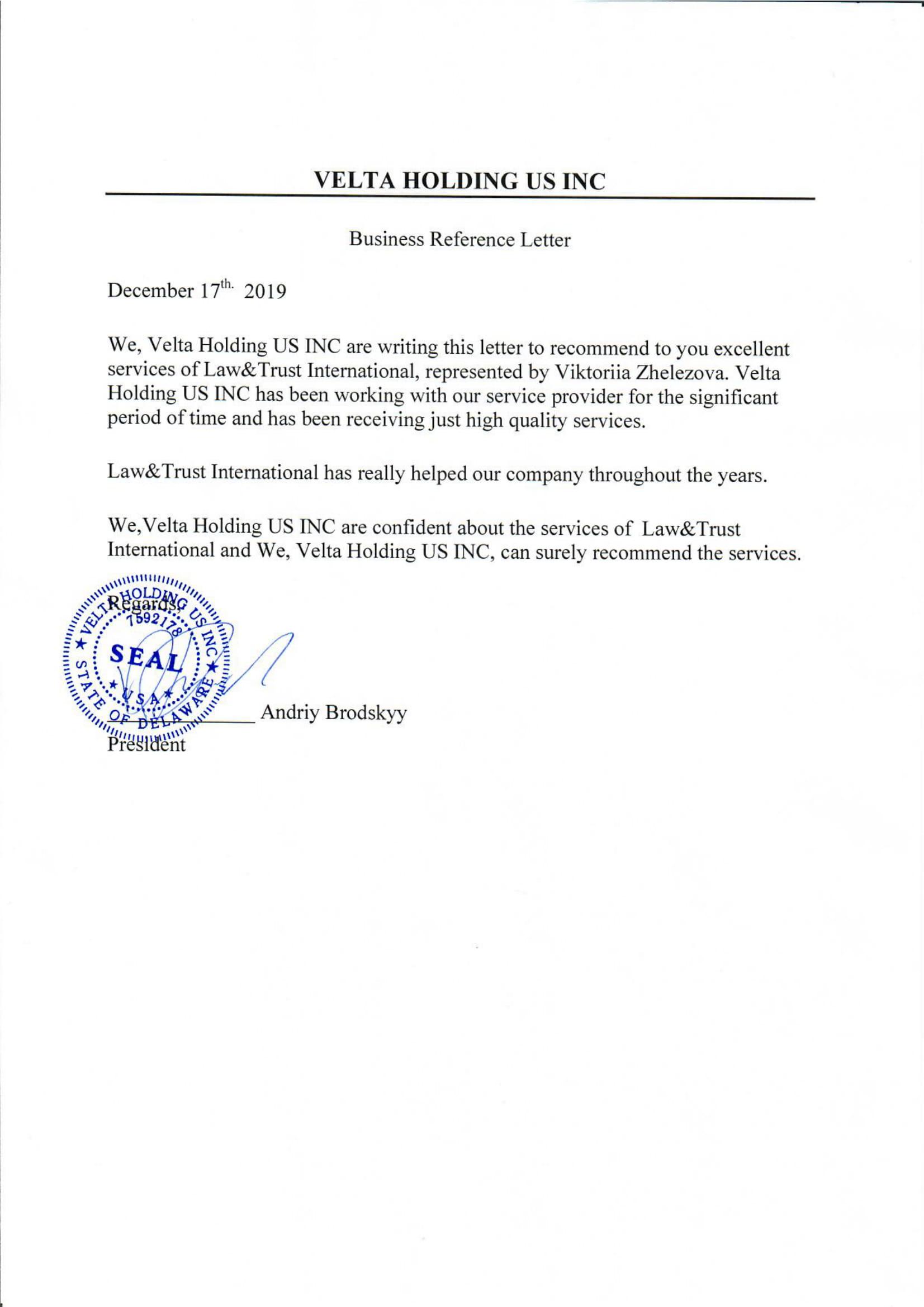 Velta Holding US INC - рекомендательное письмо.